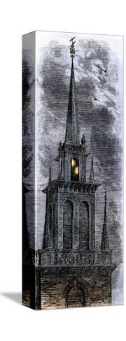 Two Lanterns in the Belfry of the Old North Church, Signalling Paul Revere Ride, 1775--Stretched Canvas Print