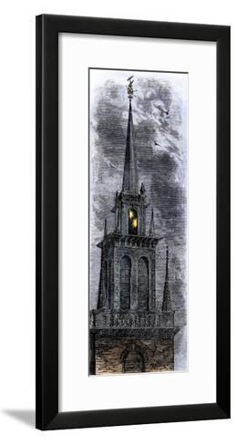 Two Lanterns in the Belfry of the Old North Church, Signalling Paul Revere Ride, 1775--Framed Art Print