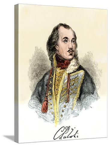 Polish Nobleman Casimir Pulaski, with His Signature--Stretched Canvas Print