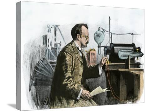 Professor J. J. Thomson in His Laboratory--Stretched Canvas Print