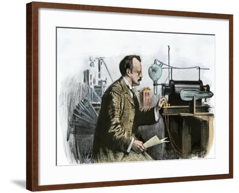 Professor J. J. Thomson in His Laboratory--Framed Art Print