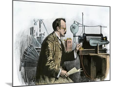 Professor J. J. Thomson in His Laboratory--Mounted Giclee Print