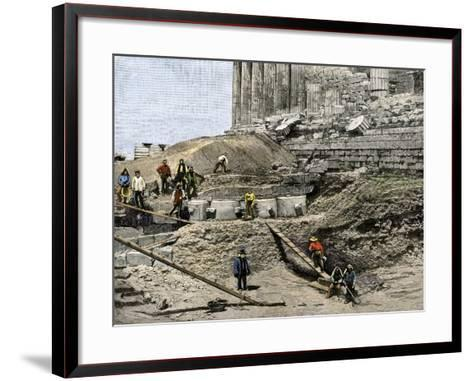 Archaeologists Excavating Ancient Ruins on the Acropolis, Athens, 1890s--Framed Art Print