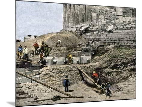 Archaeologists Excavating Ancient Ruins on the Acropolis, Athens, 1890s--Mounted Giclee Print
