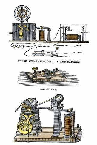 Diagrams of Morse's Telegraph Apparatus, Key, and Register--Stretched Canvas Print