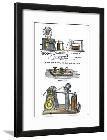 Diagrams of Morse's Telegraph Apparatus, Key, and Register--Framed Art Print