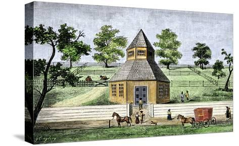 First Quaker Meeting-House in Burlington, New Jersey, a Hexagon Built in 1683--Stretched Canvas Print