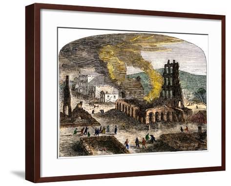 Confederate Quantrill Raid Burns Lawrence, Kansas, 1863--Framed Art Print