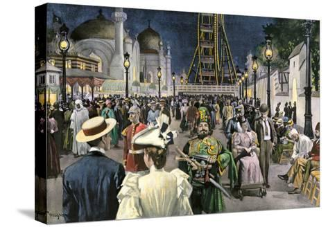 Columbian Exposition Visitors Strolling Along the Midway at Night, Chicago 1893--Stretched Canvas Print