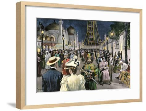 Columbian Exposition Visitors Strolling Along the Midway at Night, Chicago 1893--Framed Art Print