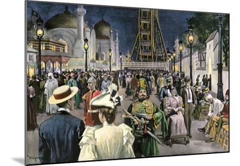 Columbian Exposition Visitors Strolling Along the Midway at Night, Chicago 1893--Mounted Giclee Print