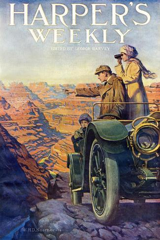 Tourists in an Automobile Visiting the Grand Canyon - Harper's Weekly Cover, Automotive Issue, 1911--Stretched Canvas Print