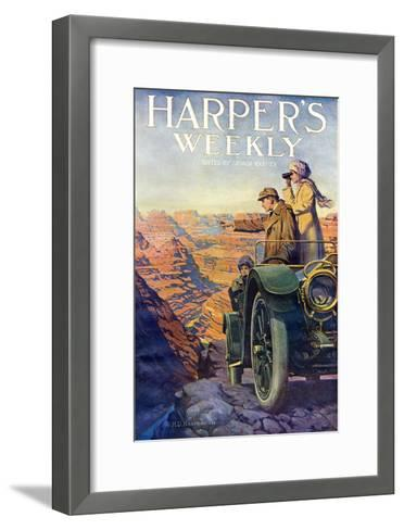Tourists in an Automobile Visiting the Grand Canyon - Harper's Weekly Cover, Automotive Issue, 1911--Framed Art Print
