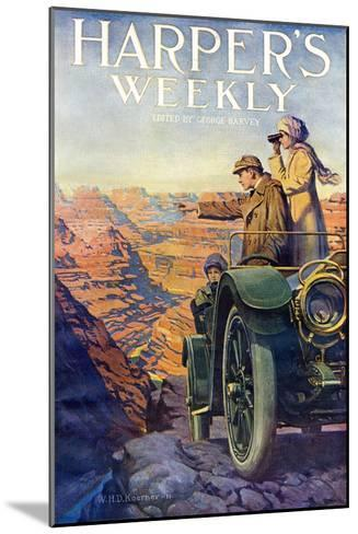 Tourists in an Automobile Visiting the Grand Canyon - Harper's Weekly Cover, Automotive Issue, 1911--Mounted Giclee Print