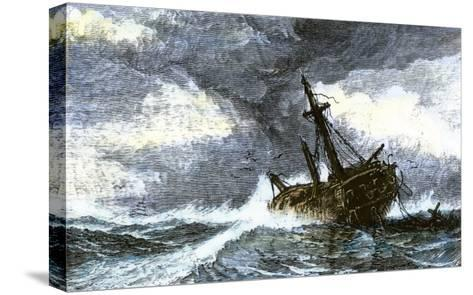 Dismasted Ship Driftng at Sea after a Storm--Stretched Canvas Print