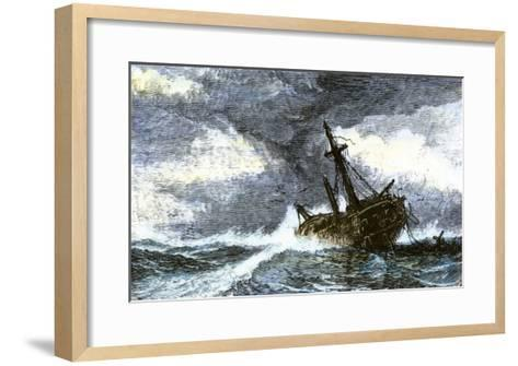 Dismasted Ship Driftng at Sea after a Storm--Framed Art Print