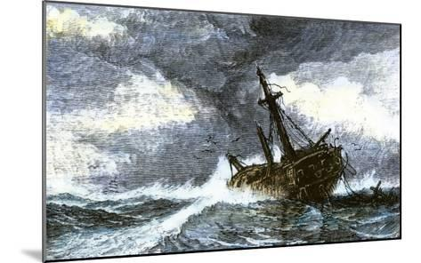 Dismasted Ship Driftng at Sea after a Storm--Mounted Giclee Print