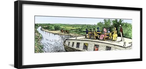 Passengers Enjoying a Cruise on the Erie Canal, 1820s--Framed Art Print