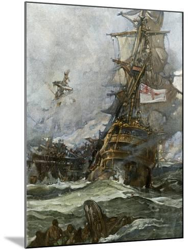 British Ship Brunswick in Battle with French Navy Off the Coast of Brittany--Mounted Giclee Print
