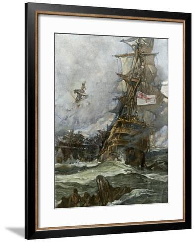 British Ship Brunswick in Battle with French Navy Off the Coast of Brittany--Framed Art Print