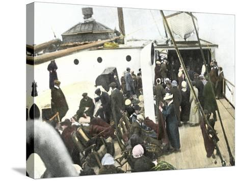 Deck of the Carpathia Crowded with Titanic Survivors--Stretched Canvas Print