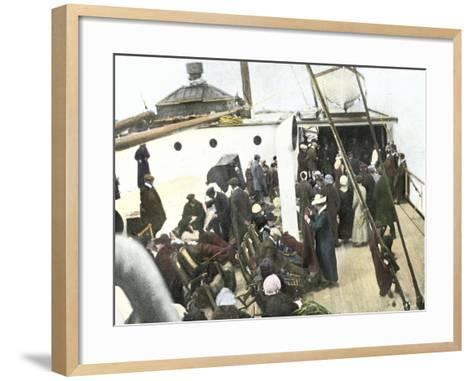 Deck of the Carpathia Crowded with Titanic Survivors--Framed Art Print