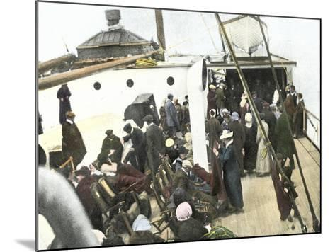 Deck of the Carpathia Crowded with Titanic Survivors--Mounted Giclee Print
