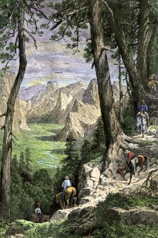 Horseback Riders Descending into Yosemite Valley, 1870s--Stretched Canvas Print