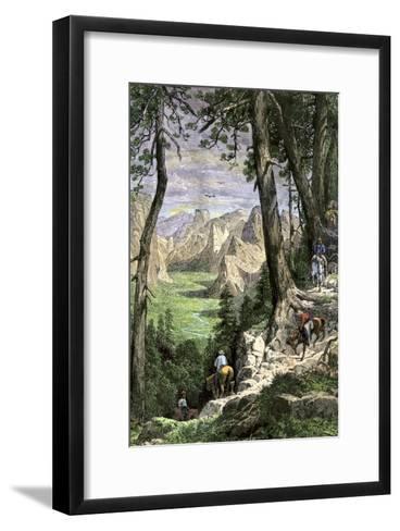 Horseback Riders Descending into Yosemite Valley, 1870s--Framed Art Print