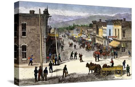 Chestnut Street in Leadville, Colorado, During the Mining Boom, 1870s--Stretched Canvas Print