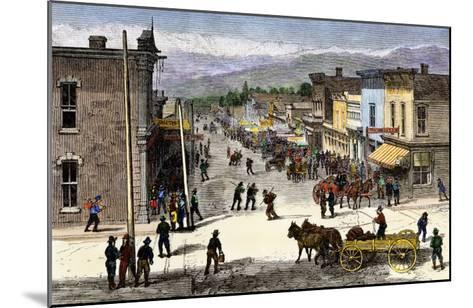 Chestnut Street in Leadville, Colorado, During the Mining Boom, 1870s--Mounted Giclee Print