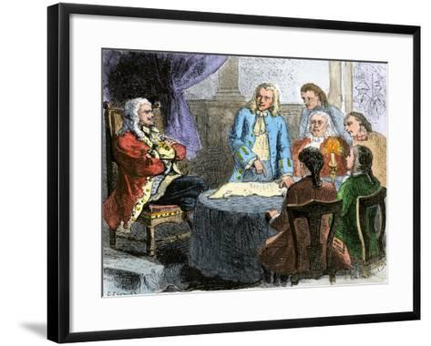 Colonists Discussing the Connecticut Charter Wih King Charles Ii--Framed Art Print
