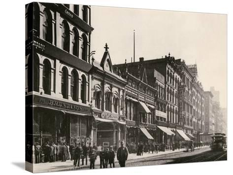 Bretano's and Other Retail Shops on Wabash Avenue South of Monroe Street, Chicago, 1890s--Stretched Canvas Print