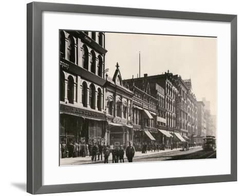 Bretano's and Other Retail Shops on Wabash Avenue South of Monroe Street, Chicago, 1890s--Framed Art Print