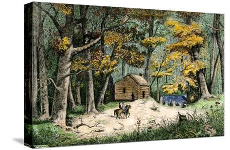 First Settler's Cabin in Indianapolis, Indiana, 1820--Stretched Canvas Print