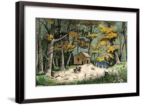 First Settler's Cabin in Indianapolis, Indiana, 1820--Framed Art Print