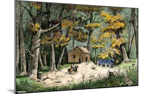 First Settler's Cabin in Indianapolis, Indiana, 1820--Mounted Giclee Print