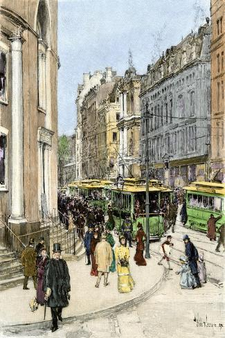 Trolleys on Tremont Street at the Corner of Park Street, Boston, 1890s--Stretched Canvas Print