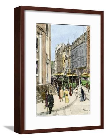 Trolleys on Tremont Street at the Corner of Park Street, Boston, 1890s--Framed Art Print