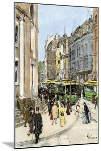 Trolleys on Tremont Street at the Corner of Park Street, Boston, 1890s--Mounted Giclee Print
