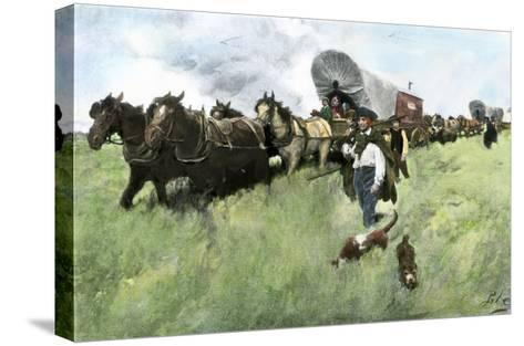 Settlers from Connecticut Entering Ohio Territory after the American Revolution--Stretched Canvas Print