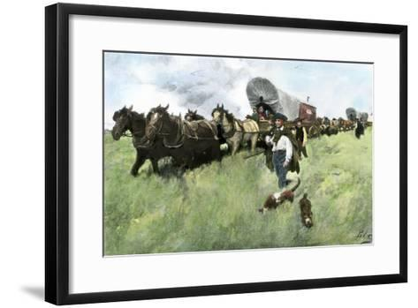 Settlers from Connecticut Entering Ohio Territory after the American Revolution--Framed Art Print