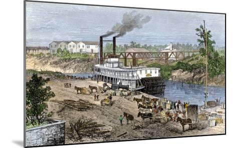 Steamboat Loading Cotton on Buffalo Bayou, Connected to the Gulf of Mexico, Houston, Texas, 1870s--Mounted Giclee Print