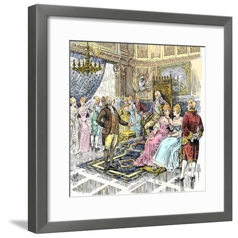 Benjamin Franklin Negotiating a French Alliance with Louis Xvi, American Revolution--Framed Art Print