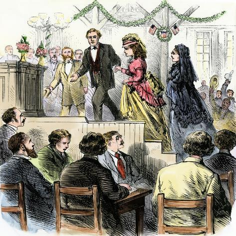 Laura Gordon and Susan B. Anthony Escorted to Speak in Cincinnati, 1870s--Stretched Canvas Print