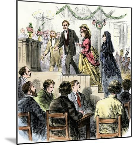 Laura Gordon and Susan B. Anthony Escorted to Speak in Cincinnati, 1870s--Mounted Giclee Print