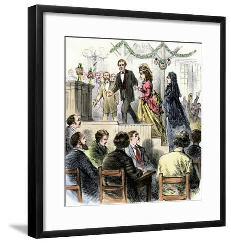 Laura Gordon and Susan B. Anthony Escorted to Speak in Cincinnati, 1870s--Framed Art Print