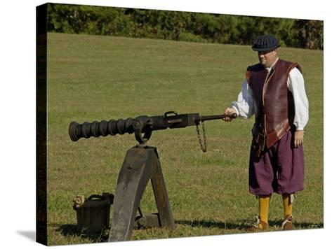 Portuguese Swivel Gun from the 1600s, an Artillery Demonstration at Yorktown Battlefield, Virginia--Stretched Canvas Print