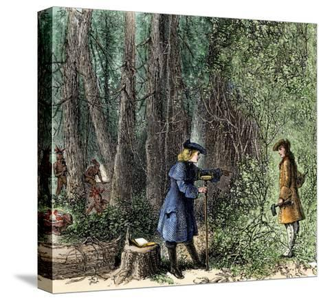 Surveyors Lawson and Degraffenried Captured by Native Americans in the Carolinas, 1711--Stretched Canvas Print