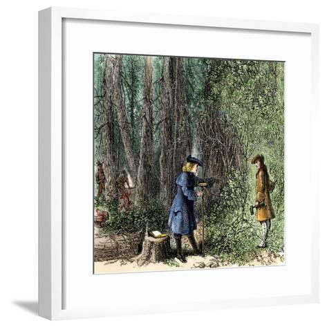 Surveyors Lawson and Degraffenried Captured by Native Americans in the Carolinas, 1711--Framed Art Print